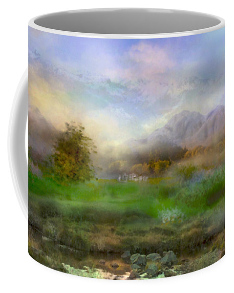 Landscapes Coffee Mug featuring the digital art Tranquil Alpine Village by Joan Scarbrough