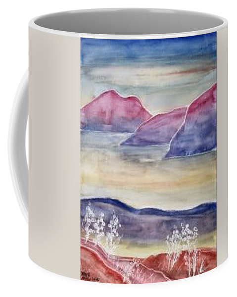 Watercolor Coffee Mug featuring the painting TRANQUILITY 2 mountain modern surreal painting print by Derek Mccrea