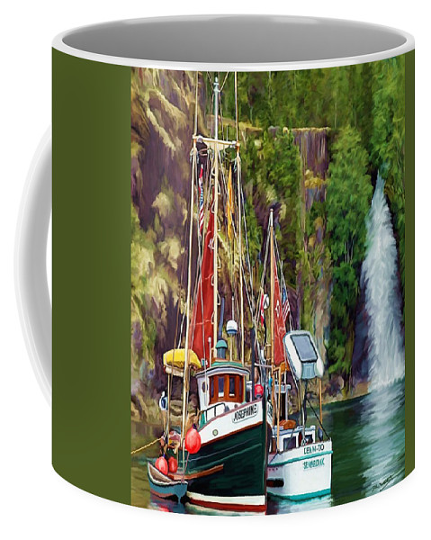 Boats Coffee Mug featuring the painting Tranquility by David Wagner