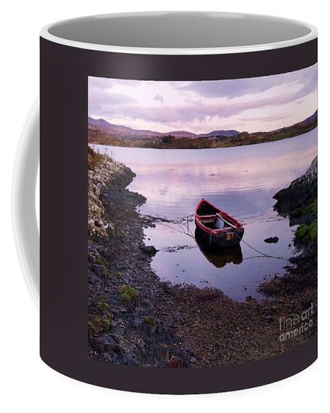 Tranquil Art Galway Connemara Boat Travel Evening Lake Outdoors Serene Ireland Reflections Letterfrack Country Life Adventure Mountains Personal Favorite Sumsung Galaxy Meditation Clouds Shadows Canvas Print Metal Frame Poster Print Available On Shower Curtains Tote Bags T Shirts Duvet Covers Throw Pillows Pouches Weekender Tote Bags Mugs And Phone Cases Coffee Mug featuring the photograph Tranquility In County Galway by Poet's Eye