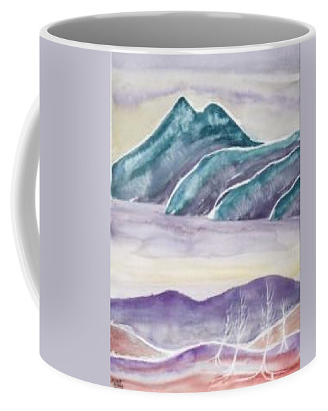 Watercolor Coffee Mug featuring the painting TRANQUILITY landscape mountain surreal modern fine art print by Derek Mccrea
