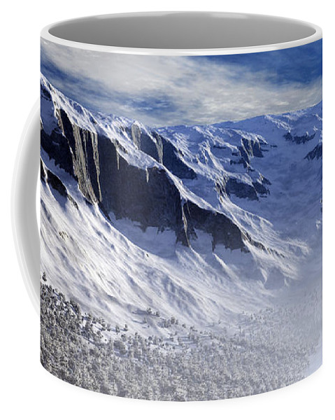 Mountains Coffee Mug featuring the digital art Tranquility by Richard Rizzo