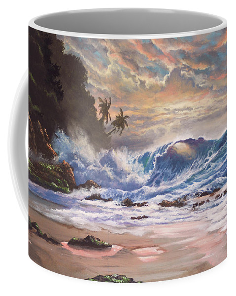 Tropical Coffee Mug featuring the painting Transcending Beauty by Marco Antonio Aguilar