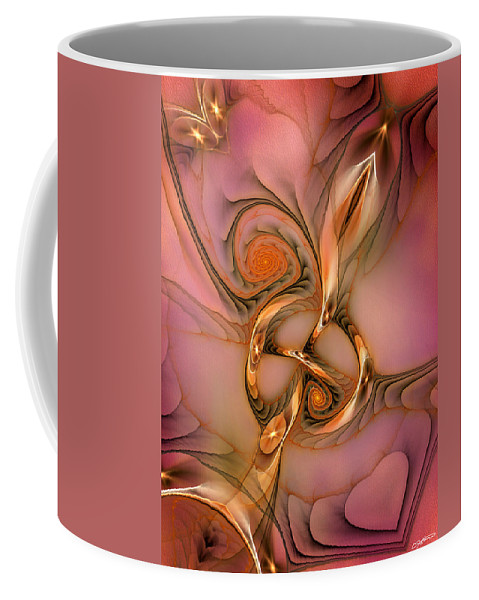 Abstract Coffee Mug featuring the digital art Transferring Affections by Casey Kotas