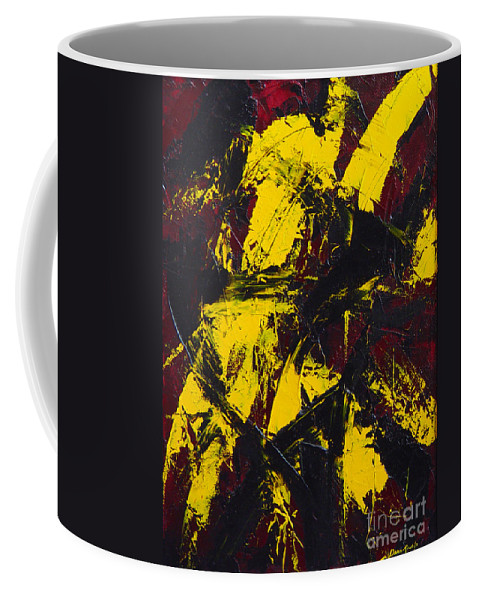 Abstract Coffee Mug featuring the painting Transitions with Yelllow and Black by Dean Triolo