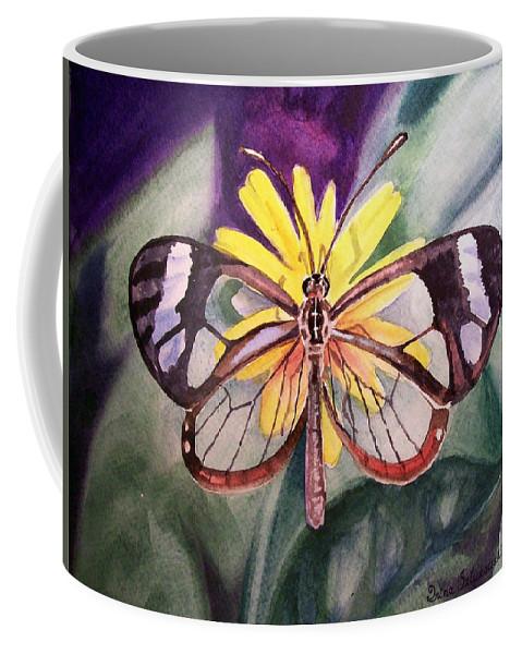 Transparent Coffee Mug featuring the painting Transparent Butterfly by Irina Sztukowski