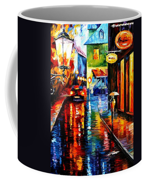 Afremov Coffee Mug featuring the painting Trapped Inside Blue Rain by Leonid Afremov