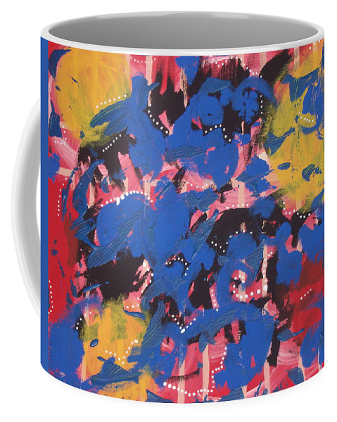 Abstract Mixed Hues Multi Color Coffee Mug featuring the painting Trapped by JJ Burner
