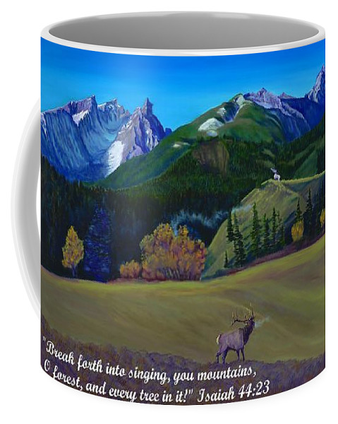 Mountain Landscape Coffee Mug featuring the painting Trapper Peak Montana Autumn Singing by Anastasia Savage Ealy