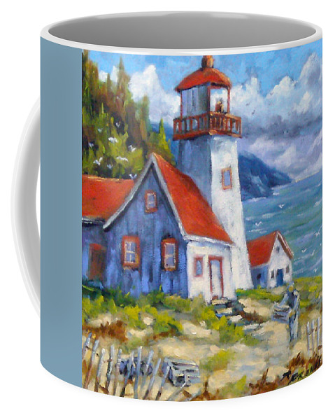 Art Coffee Mug featuring the painting Traps And Lighthouse by Richard T Pranke