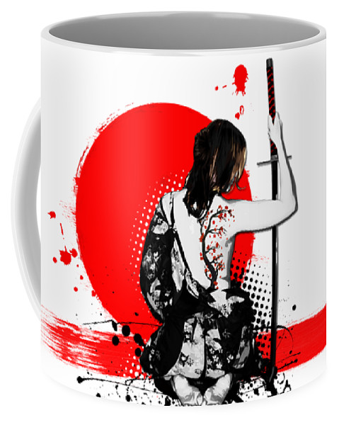 Samurai Coffee Mug featuring the digital art Trash Polka - Female Samurai by Nicklas Gustafsson