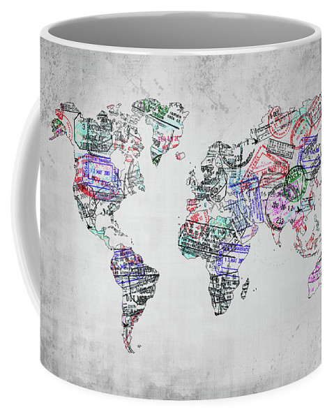World Map Coffee Mug featuring the photograph Traveler World Map Grey by Delphimages Photo Creations