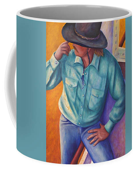 Cowboy Coffee Mug featuring the painting Travelin Man by Shannon Grissom