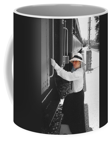 Snood Coffee Mug featuring the photograph Traveling By Train - Black And White Focal by Cindy New