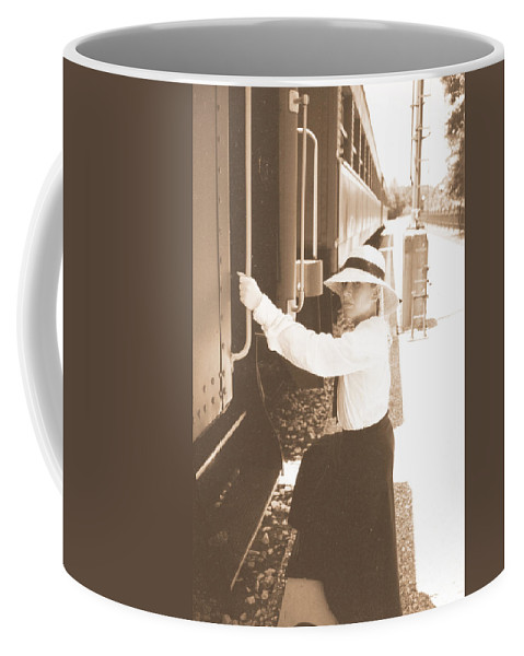 Snood Coffee Mug featuring the photograph Traveling By Train - Sepia by Cindy New
