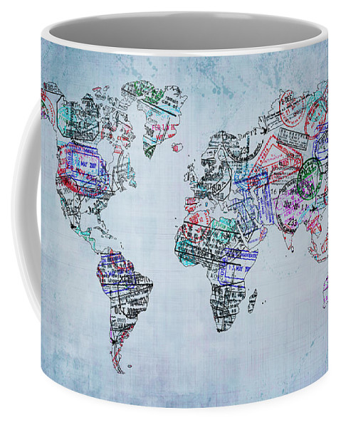 World Map Coffee Mug featuring the photograph Traveler World Map by Delphimages Photo Creations