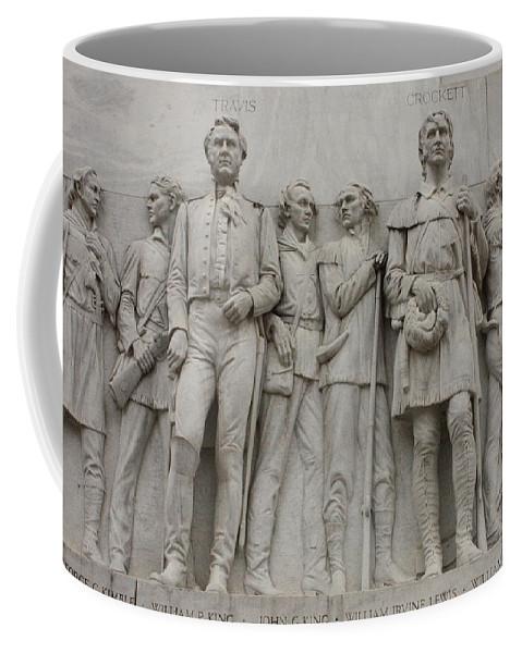 Alamo Coffee Mug featuring the photograph Travis And Crockett On Alamo Monument by Carol Groenen