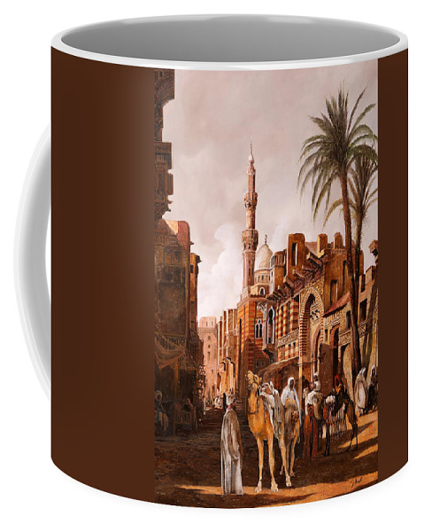 Camel Coffee Mug featuring the painting tre cammelli in Egitto by Guido Borelli