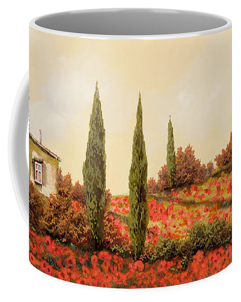 Landscape Coffee Mug featuring the painting Tre Case Tra I Papaveri Rossi by Guido Borelli
