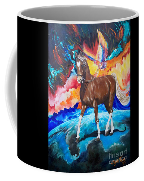 Colors Coffee Mug featuring the painting  Treading The Necessary Nuclear  Network by Sigrid Tune