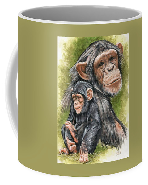 Chimpanzee Coffee Mug featuring the mixed media Treasure by Barbara Keith