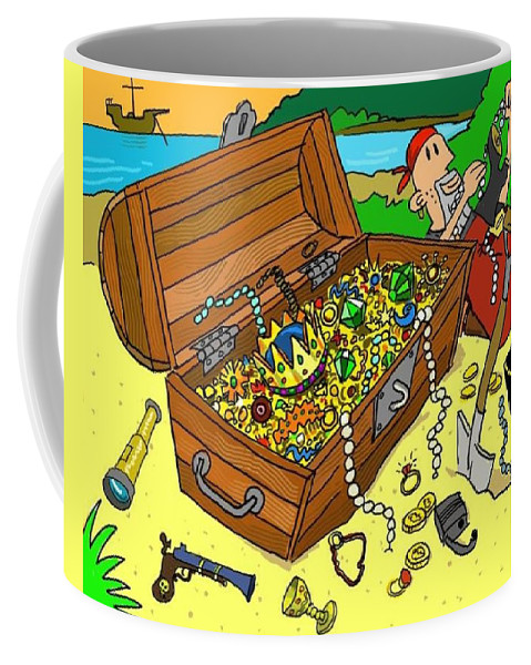 Treasure Coffee Mug featuring the digital art Treasure Chest by Debi Lewis