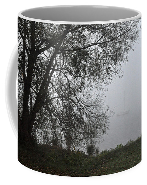 Fog Coffee Mug featuring the photograph Tree And Moored Boat by Tim Nyberg