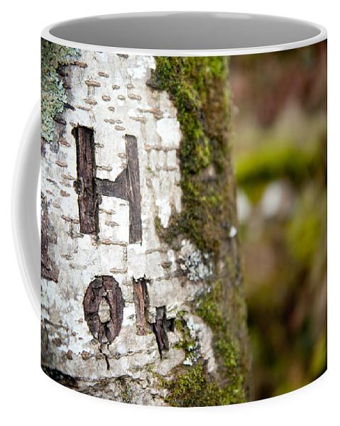Tree Coffee Mug featuring the photograph Tree Bark Graffiti - H 04 by Helen Northcott