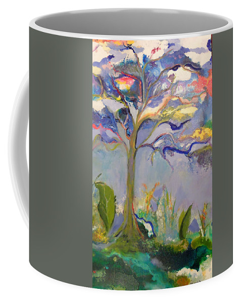 Tree Coffee Mug featuring the painting Ewe Is In The Tree by Gail Goren