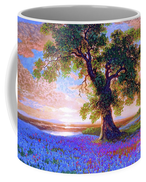 Sun Coffee Mug featuring the painting Bluebonnets by Jane Small