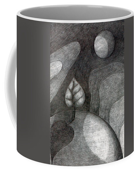 Joy Coffee Mug featuring the drawing Tree On Moon by Wojtek Kowalski