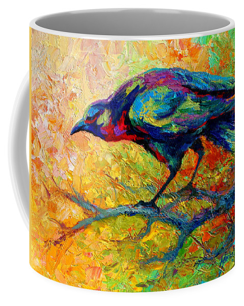 Crows Coffee Mug featuring the painting Tree Talk - Crow by Marion Rose