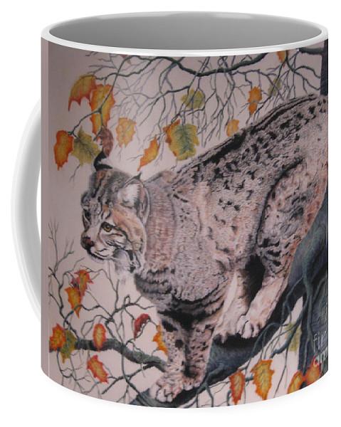 Bobcat Coffee Mug featuring the pastel Treed by John Huntsman