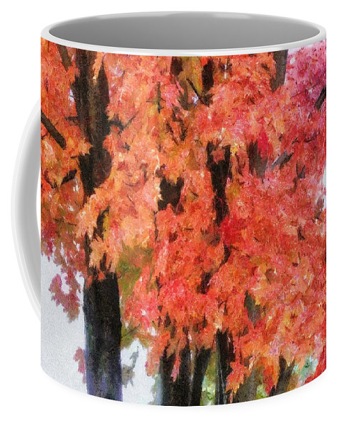 Flame Coffee Mug featuring the painting Trees Aflame by Jeffrey Kolker