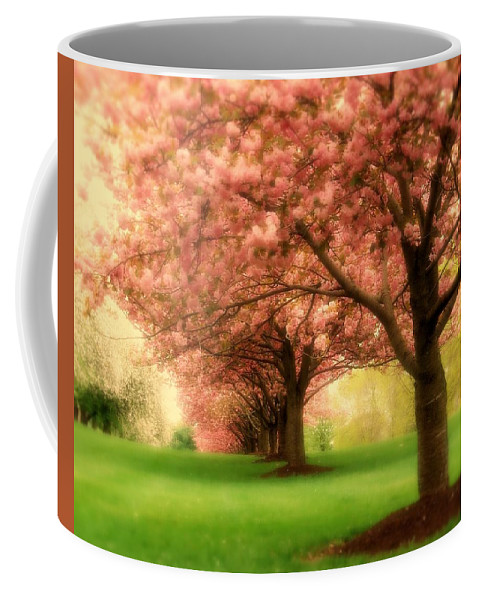 Cherry Blossom Trees Coffee Mug featuring the photograph Trees In A Row by Angie Tirado