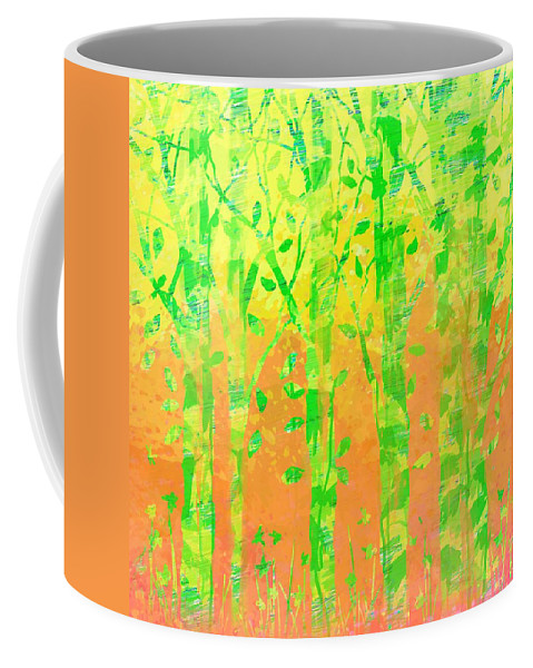 Abstract Coffee Mug featuring the digital art Trees In The Grass by Rachel Christine Nowicki