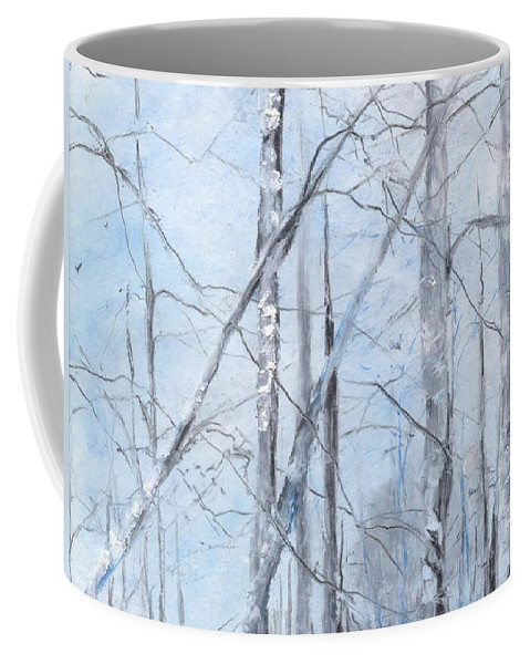 Trees Coffee Mug featuring the painting Trees In Winter Snow by Robin Miller-Bookhout