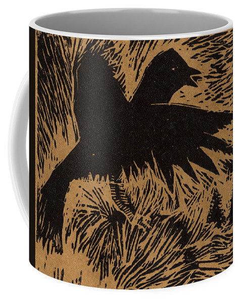 Crow Coffee Mug featuring the mixed media Treetop Crow by Diana Ludwig