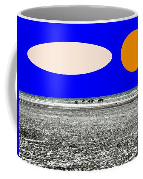 Horses Coffee Mug featuring the painting Trekking by Patrick J Murphy
