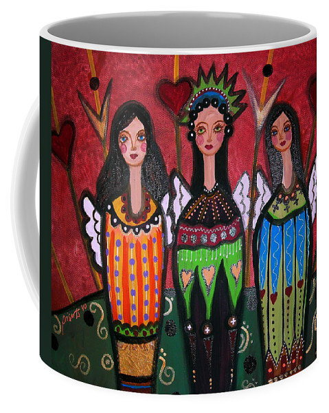 3 Coffee Mug featuring the painting Tres Angelicas by Pristine Cartera Turkus