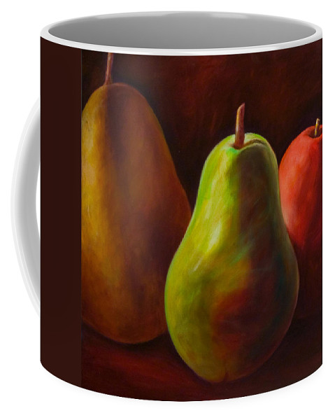 Fruit Coffee Mug featuring the painting Tri Pear by Shannon Grissom