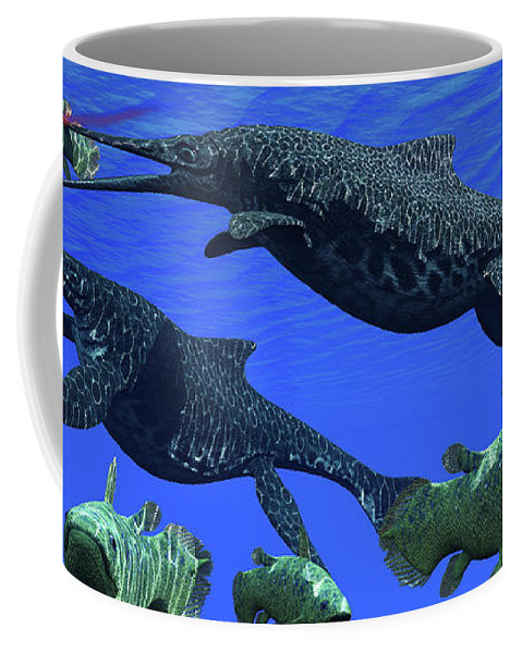3d Illustration Coffee Mug featuring the painting Triassic Shonisaurus Marine Reptile by Corey Ford