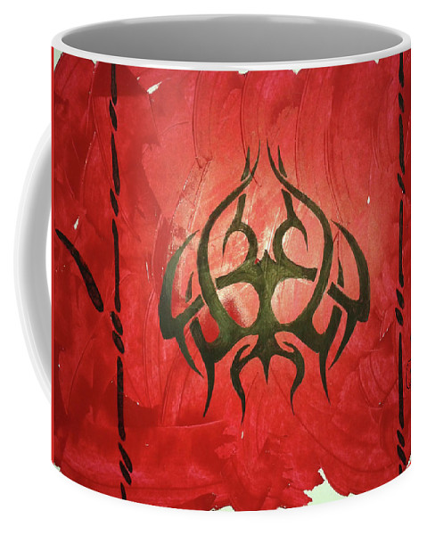 Red Coffee Mug featuring the painting Tribal by The HS