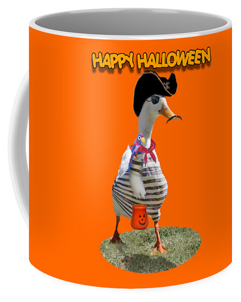 Coffee Mug featuring the mixed media Trick Or Treat For Cap'n Duck by Gravityx9 Designs