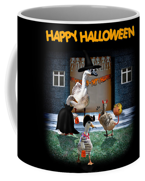 Coffee Mug featuring the mixed media Trick Or Treat Time For Little Ducks by Gravityx9 Designs