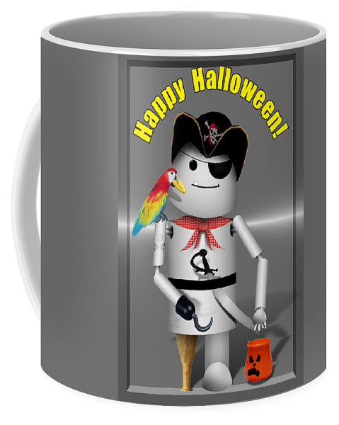 Coffee Mug featuring the mixed media Trick Or Treat Time For Robo-x9 by Gravityx9 Designs