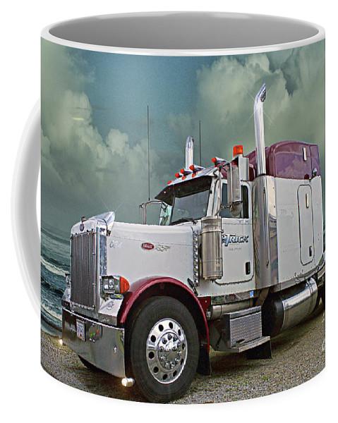 Big Rigs Coffee Mug featuring the photograph Trick Transport Peterbilt by Randy Harris