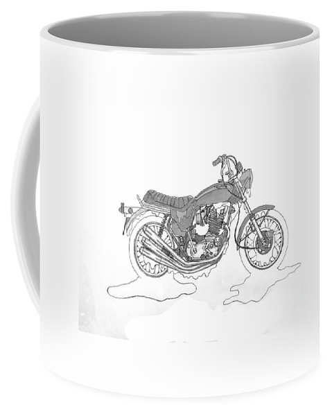 Stephen Coffee Mug featuring the drawing Trickley Triumph X75 by Stephen Brooks