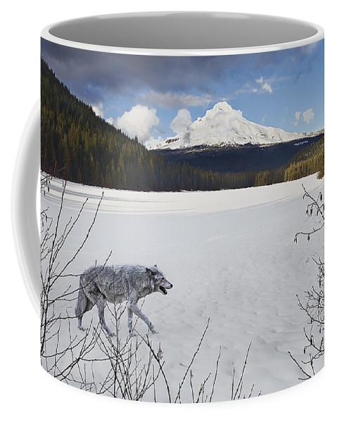 Snow Coffee Mug featuring the digital art Lone Wolf by John Christopher