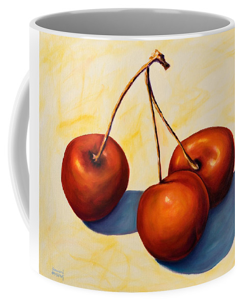 Cherries Coffee Mug featuring the painting Trilogy by Shannon Grissom